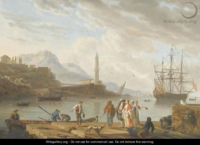 A Mediterranean Harbour Scene With Figures Conversing In The Foreground - (after) Charles Francois Lacroix De Marseille