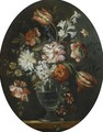 A Still Life With A Bouquet Of Flowers In A Glass Vase - Dutch School