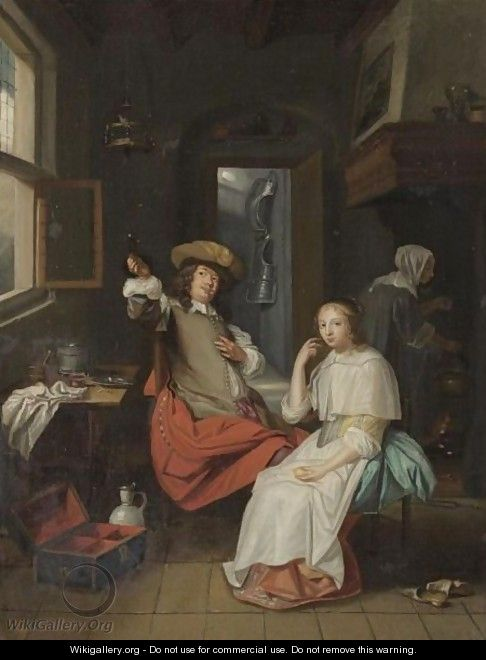 Interior With Cavalier And A Lady, Both Seated, With A Servant In The Background - Dutch School