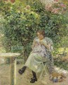 Femme A Sa Couture Assise Dans Un Jardin - Ludovic Vallee
