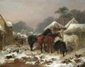 The Farmyard In Winter - John Frederick Herring Snr