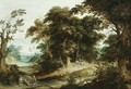 A Wooded Landscape With A Poultry-Seller, Travellers And Dogs On A Path Beyond - Alexander Keirinckx