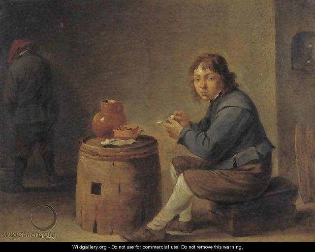 A Young Man Seated Filling His Pipe - (after) David The Younger Teniers