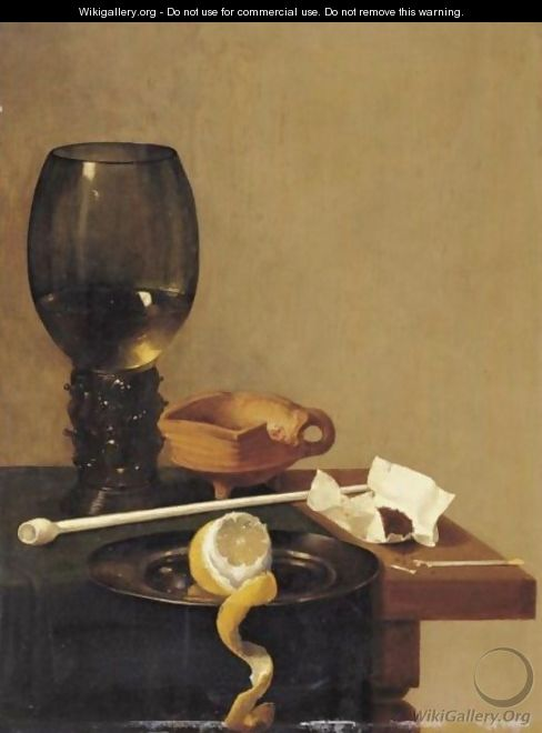 Still Life With Roemer, Tobacco, A Clay Pipe And A Peeled Lemon On A Pewter Plate - (after) Jan Jansz. Van De Velde
