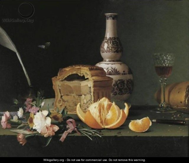 Still Life With A Pie, Orange And Flowers On A Ledge - Pierre Etienne Remillieux