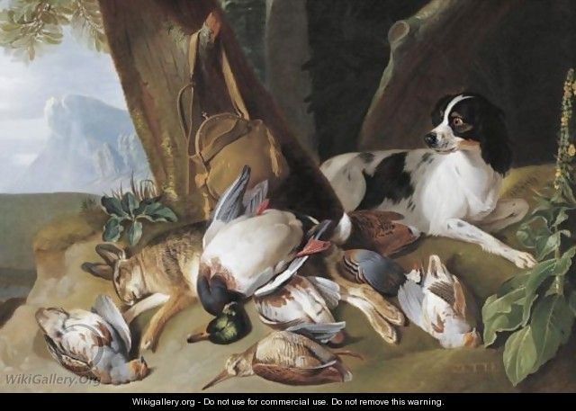 Hunting Still Life With Game Birds And Zette, The Hound - Claude Francois Desportes