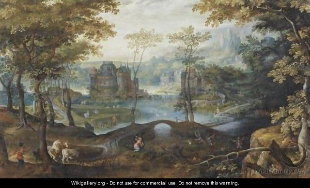 A Landscape With Latona Turning The Lycian Peasants Into Frogs - Roelandt Jacobsz Savery