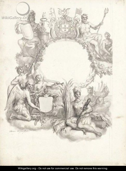 A Design For A Frontispiece With An Allegory Of Brazil - Ottmar, the Younger Elliger