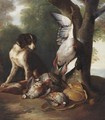 Still Life Of Game Birds And A Dog In A Landscape - Alexandre-Francois Desportes