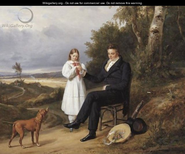 Father And Daughter In A Landscape - Pierre Duval-Lecamus