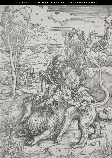 Samson Fighting With The Lion - Albrecht Durer