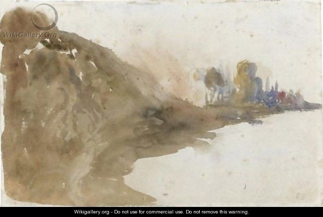 View Of A Riverbank - Eugene Delacroix