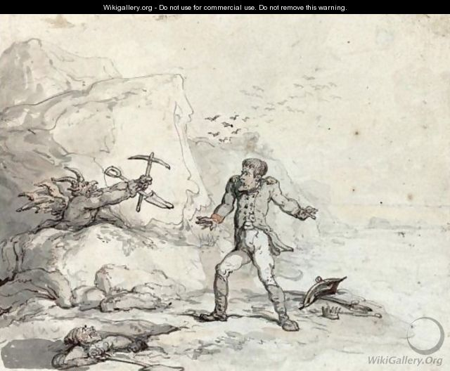 Napoleon On The Shores Of St Helena, Menaced By A Devil With A Pick And Shovel, A Grave-Digger Looking On - Thomas Rowlandson