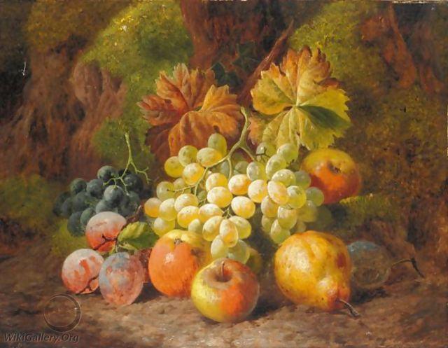 Still Life Of Apples, Pears, Plums And Grapes - Charles Thomas Bale
