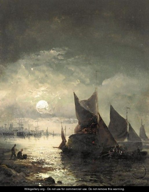 Boats In Moonlight - William A. Thornley or Thornbery