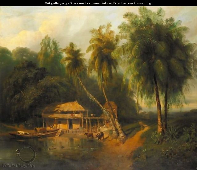An Exotic Landscape View With Straw Huts And Palm Trees - French-Colonial School