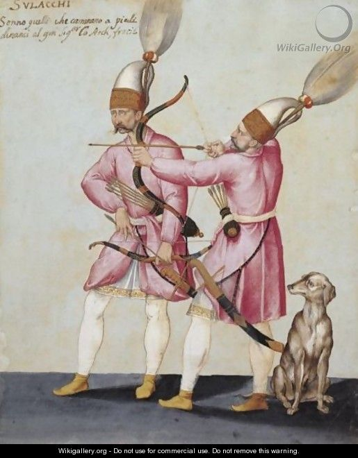 Two Solak Archers With A Dog - Jacopo Ligozzi