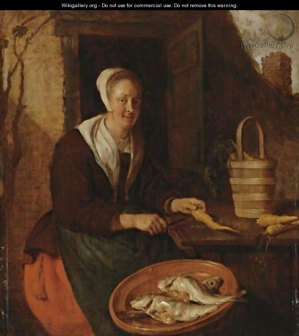 A Kitchenmaid Preparing Carrots - Gabriel Metsu