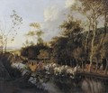 A Coach Pulled By Six Horses Crossing A Flooded Road - Jan Siberechts