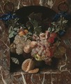 A Festoon Of Fruits, Including Peaches, Grapes, Plums And Hazelnuts, Suspended By Blue Ribbons Before A Marble Niche - Carstian Luyckx