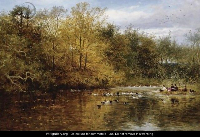 Feeding The Ducks - Benjamin Williams Leader