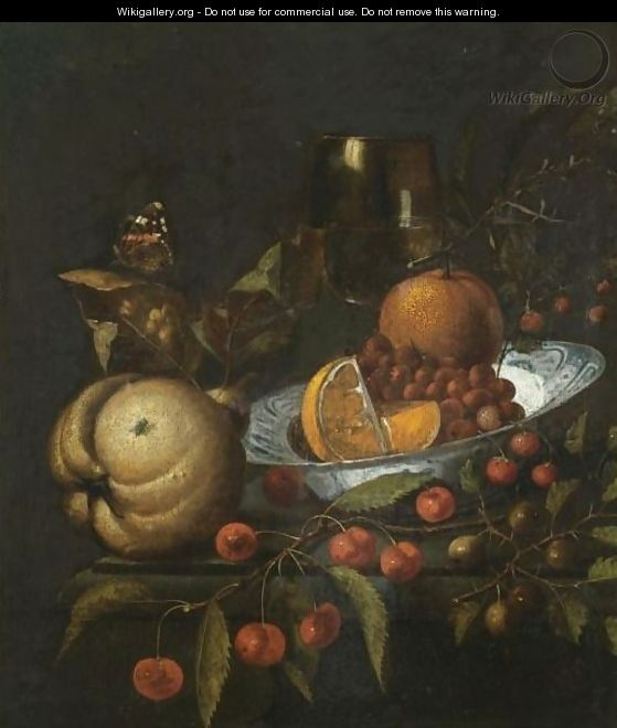 A Still Life With Oranges And Wild Strawberries In A Blue And White Porcelain Bowl - Marten Nellius