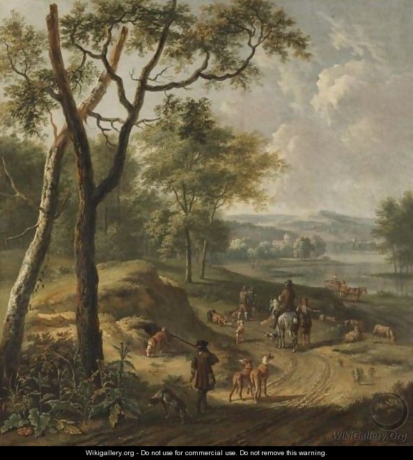 A Dune River Landscape With Huntsmen And A Shepherd On A Track - (after) Jan Wijnants
