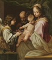 The Holy Family With An Angel Offering The Christ Child A Plate Of Cherries - (after) Simone Cantarini (Pesarese)