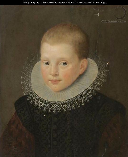 Portrait Of A Young Boy, Bust-Length, In A Black Costume With A White Ruff - Dutch School