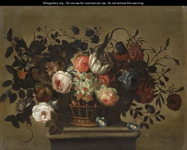 A Flower Still Life With A Tulip, Roses, Bluebells, Daffodills And Carnations In A Basket On A Ledge - (after) Pieter Hardime