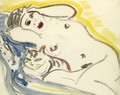 Reclining Female Nude With Cat - Ernst Ludwig Kirchner