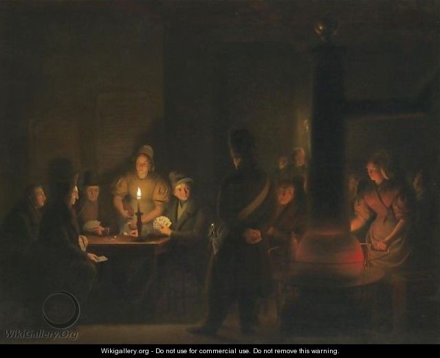 The Card Game Interrupted - Petrus Van Schendel