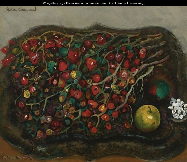 Still Life With Berries And Apples, 1930s - Boris Dmitrievich Grigoriev