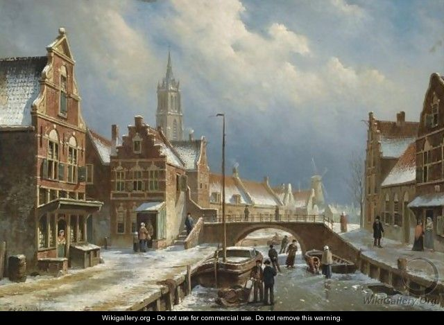 Figures On A Frozen Canal In A Dutch Town - Oene Romkes De Jongh