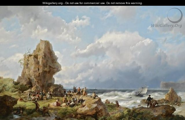 Many Shipwrecked Figures On A Rocky Coast - Hermanus Koekkoek