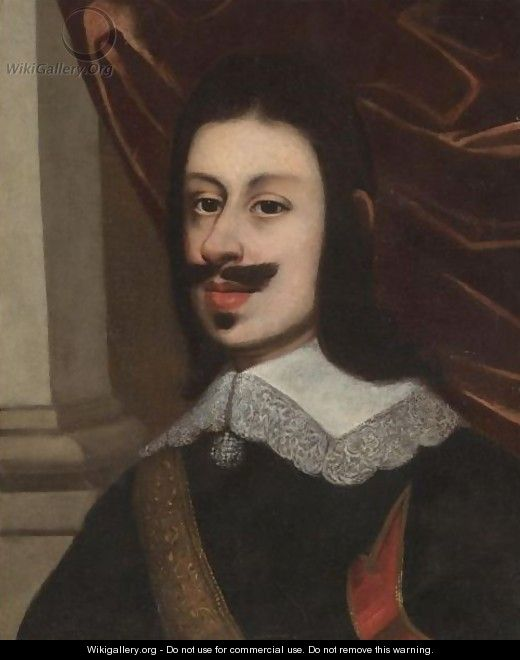 Portrait Of A Gentleman, Head And Shoulders, Wearing A Black Doublet And A Gold Sash - (after) Justus Sustermans