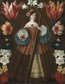 Saint Helena Surrounded By A Garland Of Flowers - Spanish School