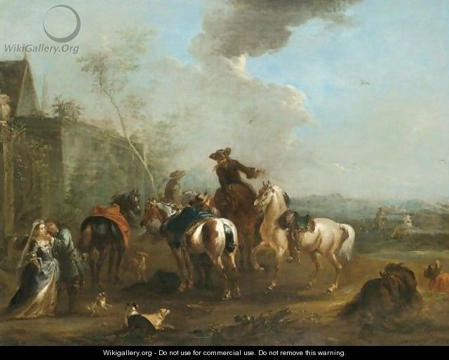 A Hunting Party At Rest With A Huntsman Caressing An Elegant Lady - August Querfurt