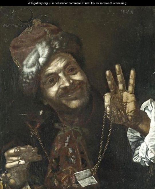Portrait Of A Smiling Man Holding Up A Wine-Glass And A Gold Chain - (after) Pietro Bellotti