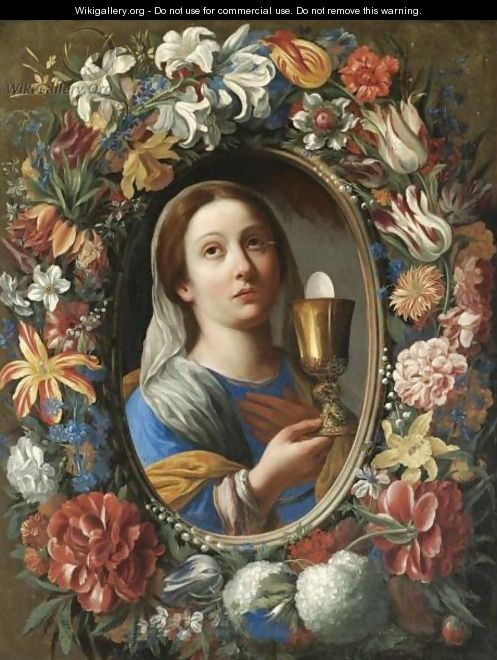 A Garland Of Flowers With A Female Saint Holding The Eucharist, Probably Saint Barbara - Florentine School