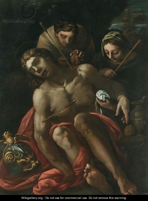 Saint Sebastian Tended By Saint Irene - Venetian School