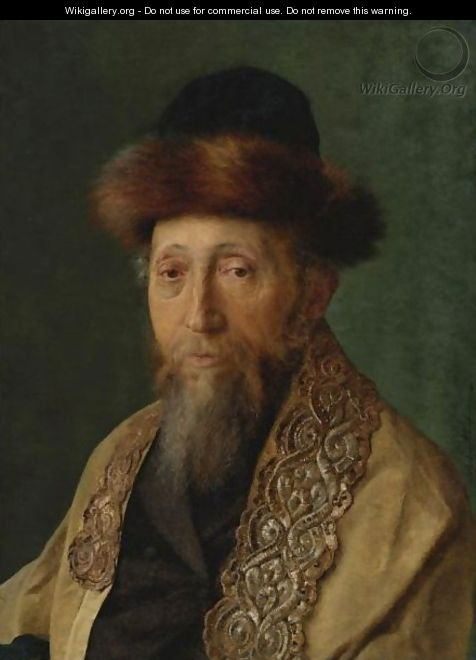 Portrait Of A Rabbi With Tallit - Isidor Kaufmann
