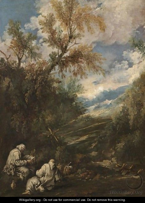 A Wooded Landscape With Saints Anthony The Great And Paul The Hermit - (after) Antonio Francesco Peruzzini