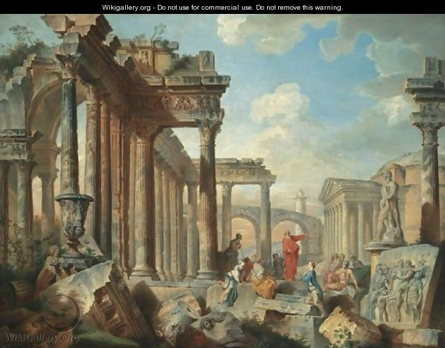 A Capriccio View Of Architectural Ruins With Saint Peter Preaching - (after) Giovanni Paolo Panini