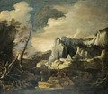 An Extensive River Landscape With Figures Fishing And Playing With A Dog In The Foreground - Salvator Rosa