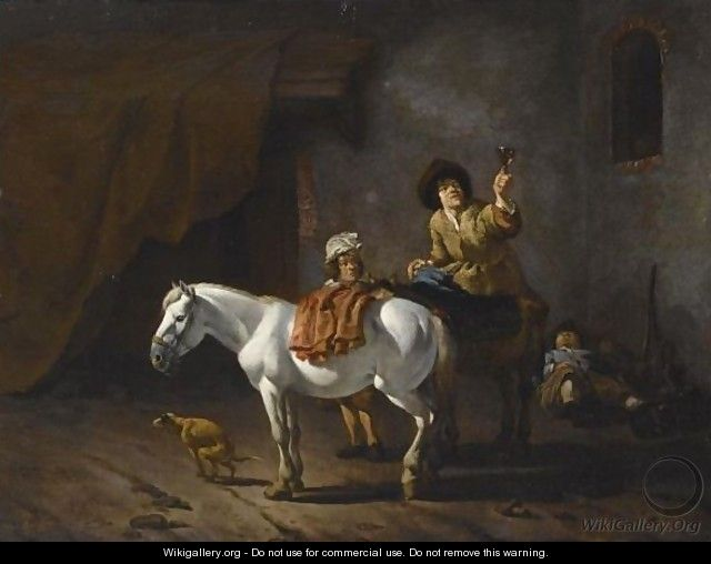 Two Horsemen With Their Horses And A Dog Near A Stable, Another Horseman Sleeping In The Background - Karel Dujardin
