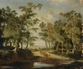 A Wooded Landscape With A Shepherd And His Herd On A Path, Near A Puddle - Jan Hackaert