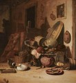 A Still Life Of Earthenware Pots, Barrels, Baskets, Jugs, An Earthenware Plate With Fish, Together With Ducks, In A Barn - Hendricksz. Bogaert