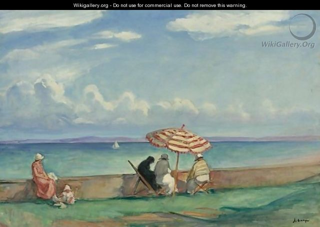 le parasol a la terrasse de morgat henri lebasque the largest gallery in. Black Bedroom Furniture Sets. Home Design Ideas