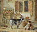 A Courtyard With Two Goats - Abraham van, I Strij